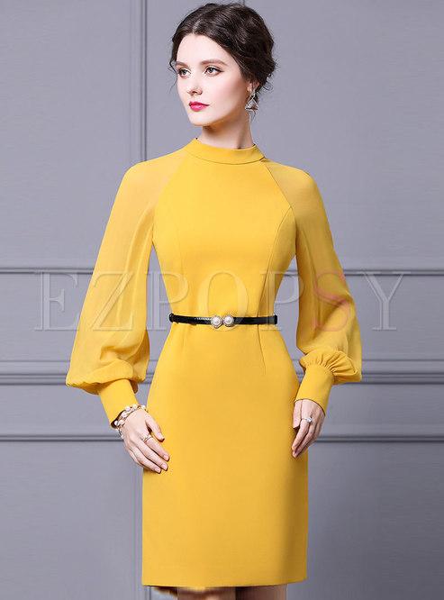 Yellow Lantern Sleeve Belted Bodycon Dress