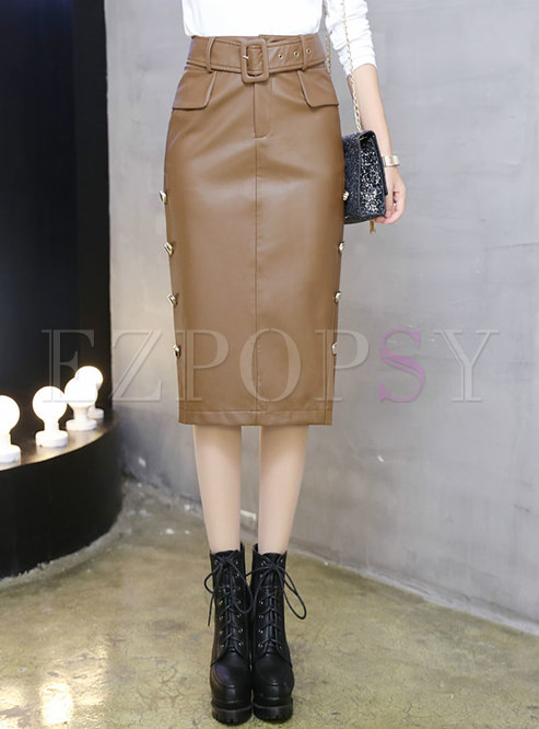 High Waisted Sheath PU Midi Skirt