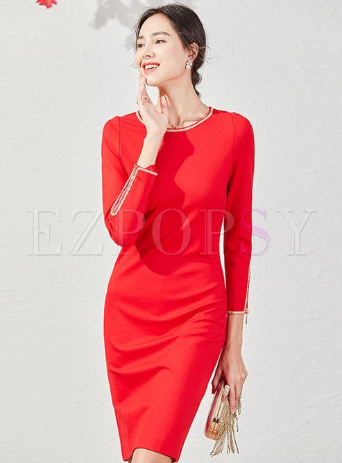 Long Sleeve Beaded Bodycon Cocktail Dress