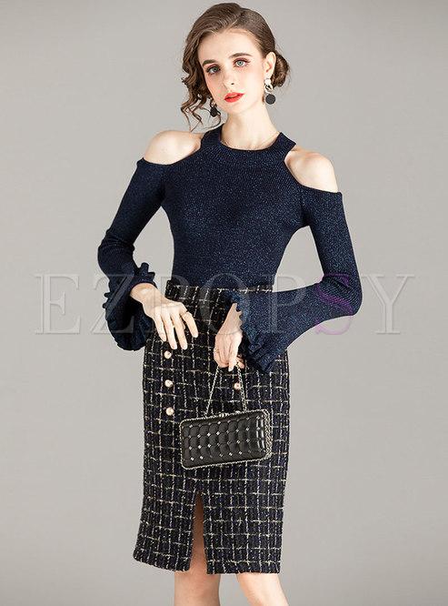 Cold Shoulder Pullover Plaid Sheath Skirt Suits
