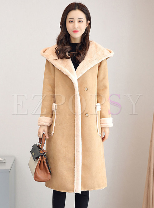 Hooded Suede Straight Long Overcoat