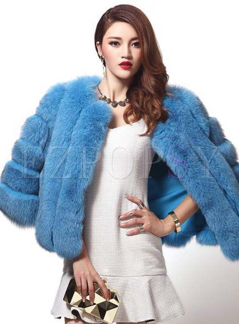 Solid Short Straight Paneled Faux Fur Coat