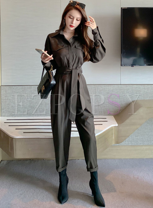 Turn Down Collar High Waisted Cargo Jumpsuits