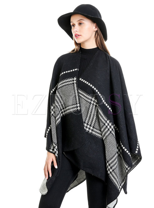 Houndstooth Faux Cashmere Winter Shawl Scarf