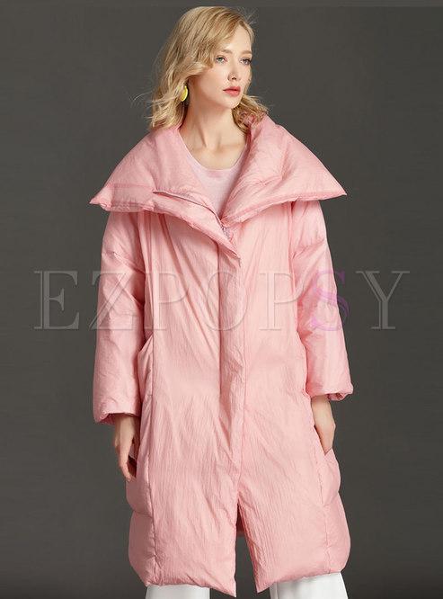 Plus Size Straight Knee-length Down Coat