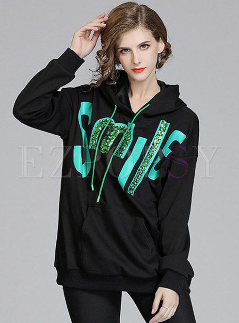 Letter Print Sequin Pullover Hoodie