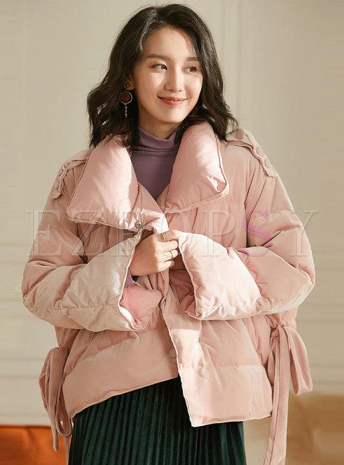 Pink Straight Short Asymmetric Down Coat