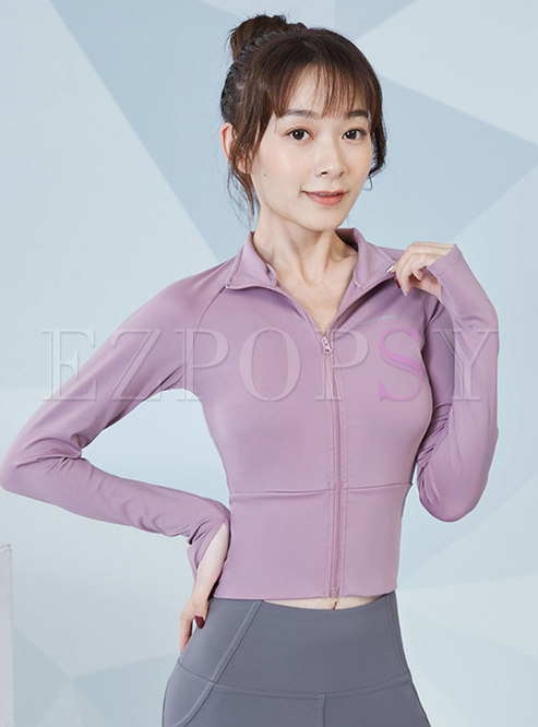 Solid Stand Collar Tight Yoga Cropped Jacket