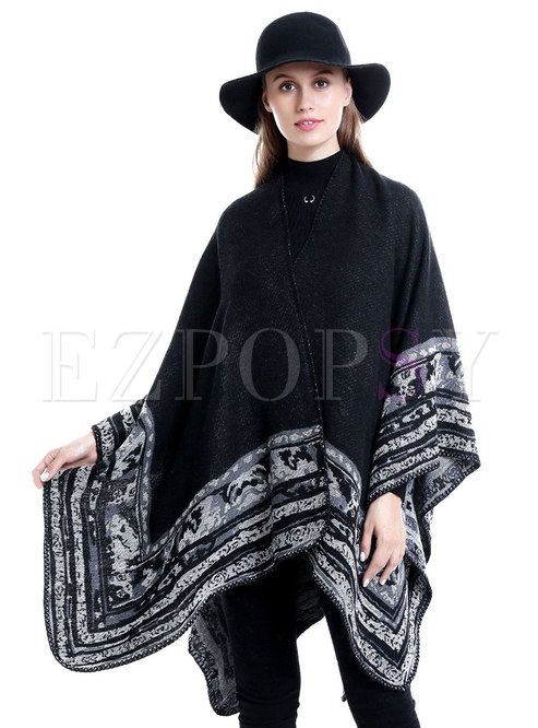 Black Faux Cashmere Print Shawl Scarf