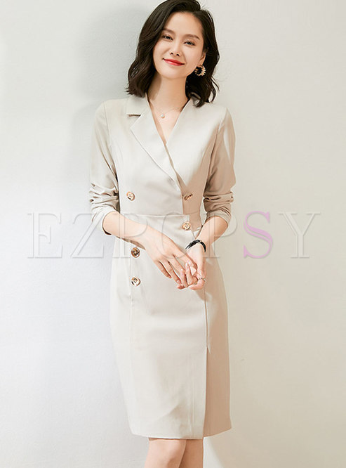 Notched Brief Sheath Knee-length Office Dress
