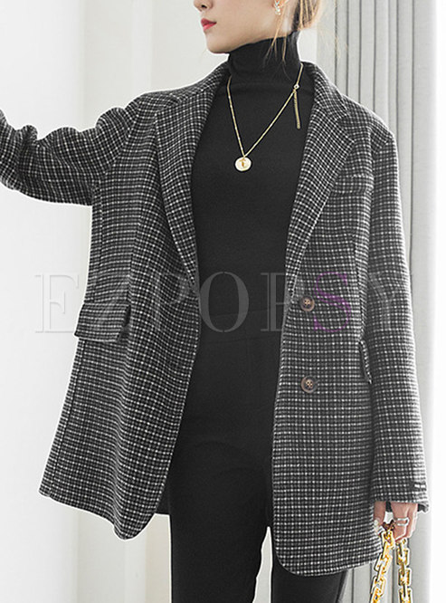 Notched Houndstooth Wool Straight Blazer
