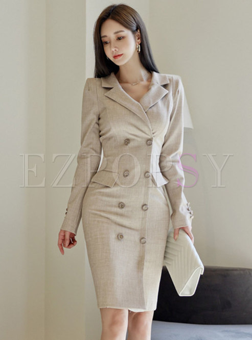 Work Notched Collar Double-breasted Bodycon Dress
