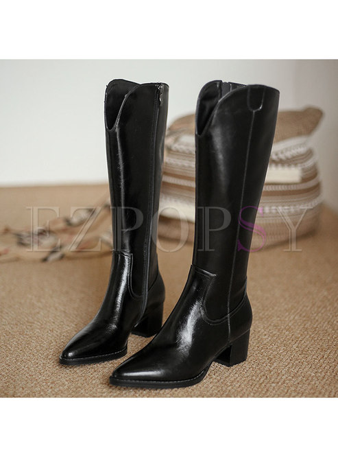 Pointed Toe Chunky Heel Mid-calf Boots
