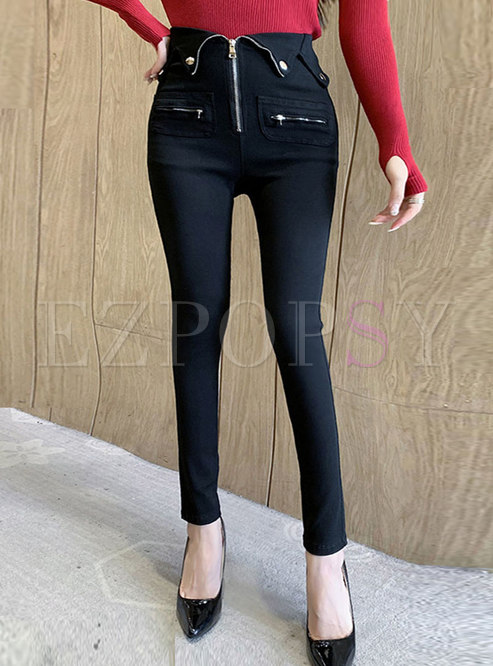 Black High Waisted Short Plush Pencil Pants