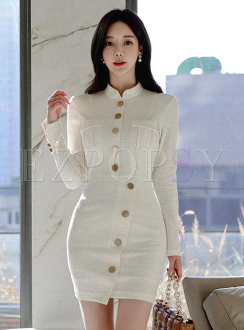 Mock Neck Single-breasted Sheath Mini Dress