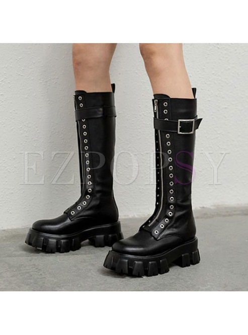 Rounded Toe Platform Long Boots