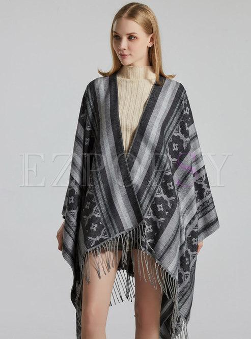 Print Striped Fringed Winter Shawl Scarf