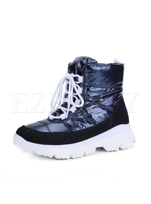 Rounded Toe Platform Short Boots
