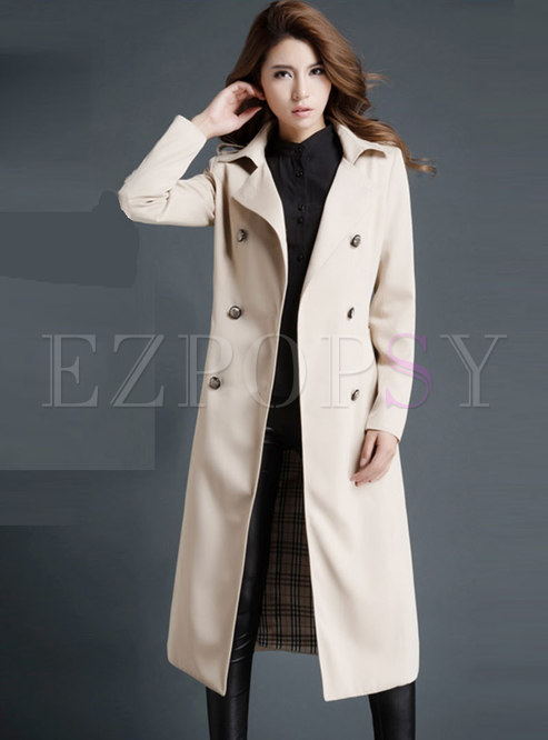 Lapel Double-breasted Long Trench Coat