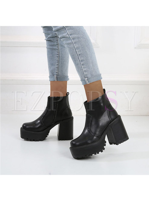 Rounded Toe Chunky Heel Platform Ankle Boots