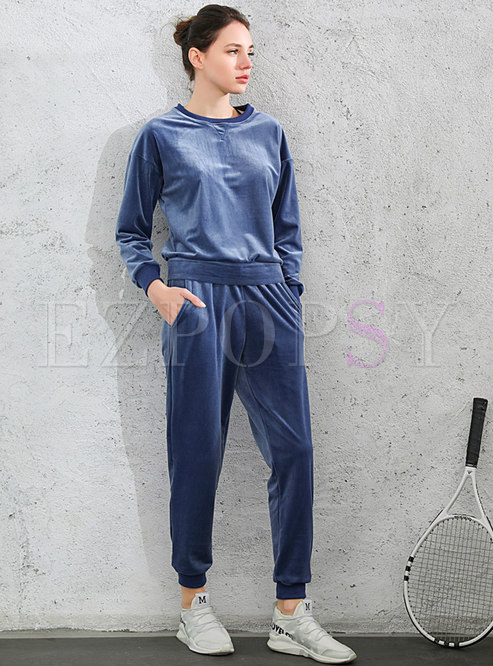 Solid Pullover Casual Velvet Pant Suits