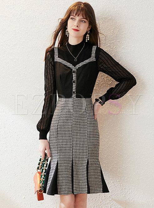 Mock Neck Knit Top & Plaid Peplum Slip Dress