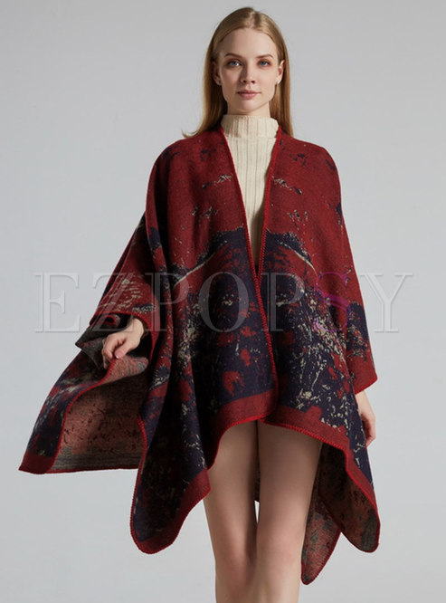 Red Jacquard Faux Cashmere Shawl Scarf