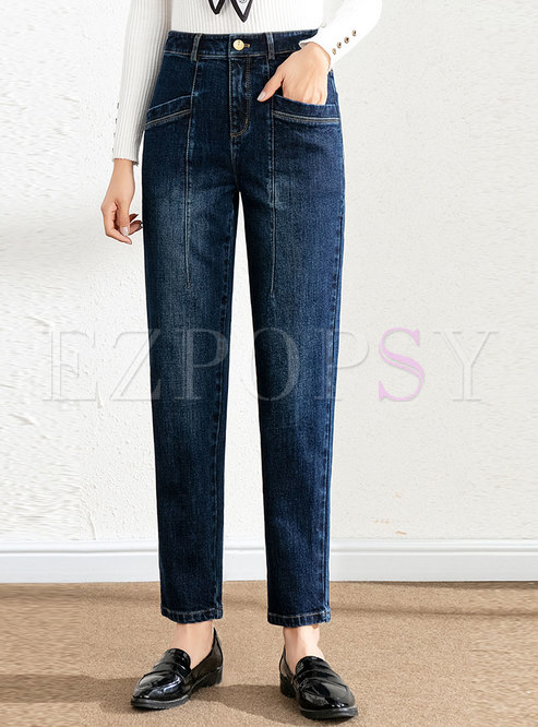 High Waisted Denim Harem Pants With Pockets