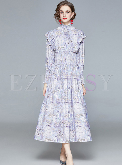 Turtleneck Ruffle Empire Waist Print Maxi Dress