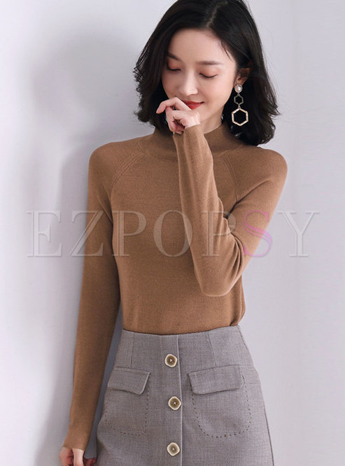 Mock Neck Long Sleeve Pullover Sweater