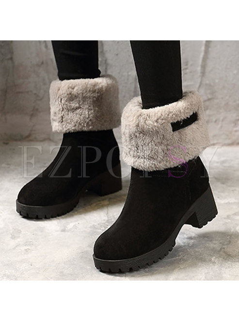 Plush Rounded Toe Block Heel Mid-calf Boots