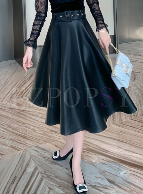 Black High Waisted PU Big Hem A Line Skirt