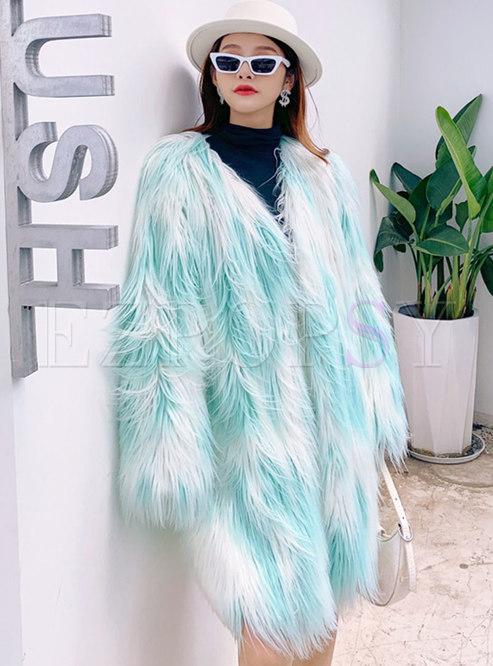 V-neck Color-blocked Faux Fur Mid-length Coat