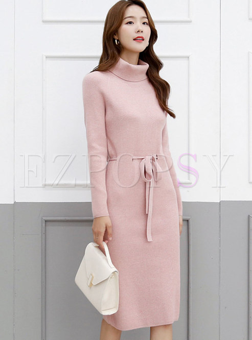 Solid Drawstring Knee-length Knitted Dress