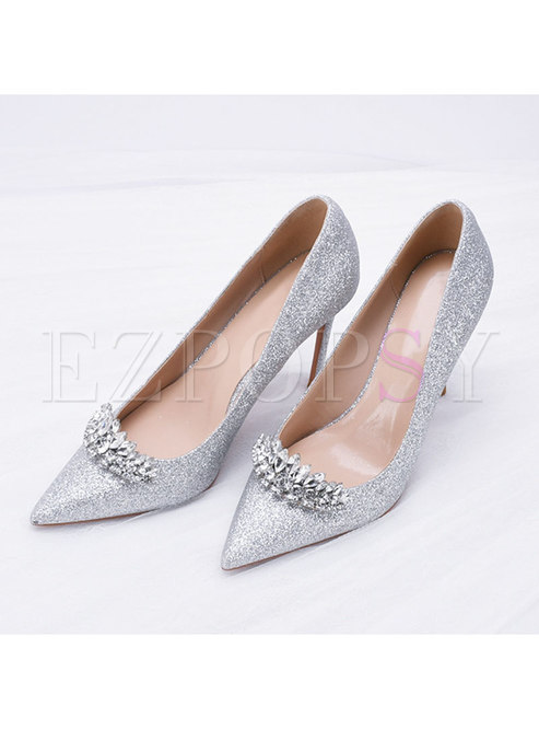 Pointed Toe Diamond Low-fronted Heels