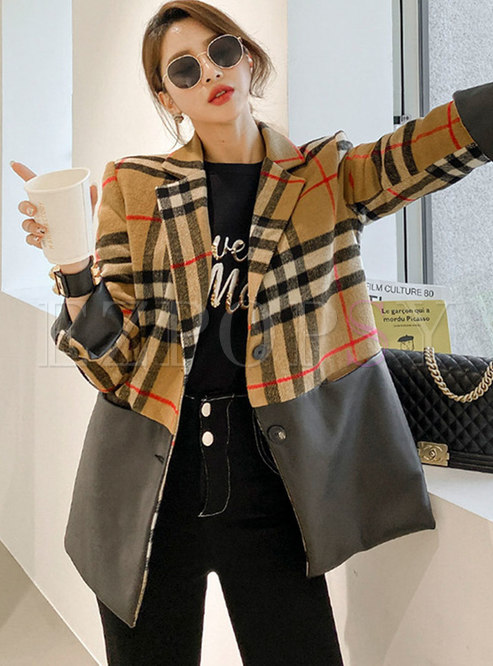Notched Plaid Patchwork PU Loose Blazer