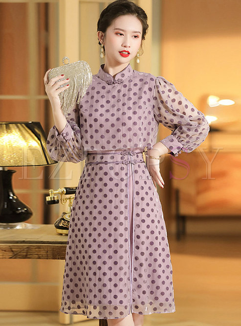 Mandarin Collar Velvet Polka Dot Skater Dress