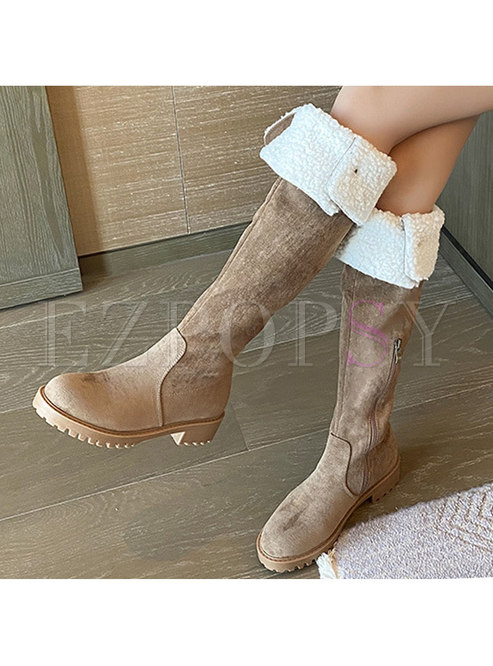 Rounded Toe Lambswool Over Knee Boots