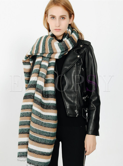 Color-blocked Striped Faux Cashmere Winter Scarf