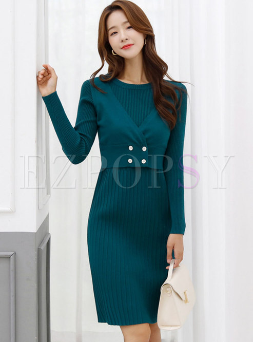 Crew Neck Patchwork A Line Knitted Dress