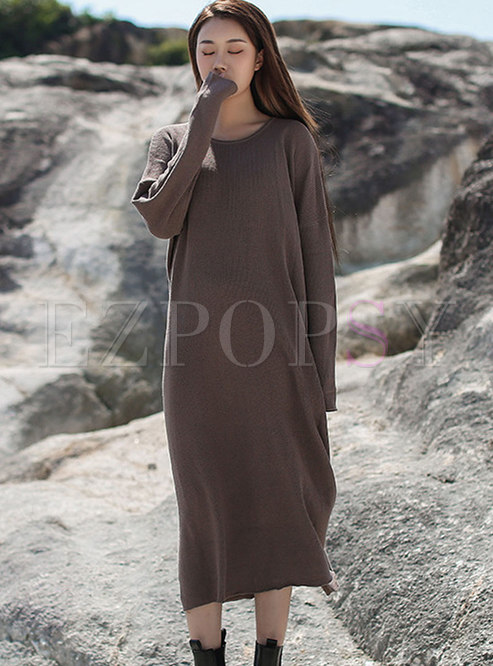 Long Sleeve Solid Shift Knitted Dress