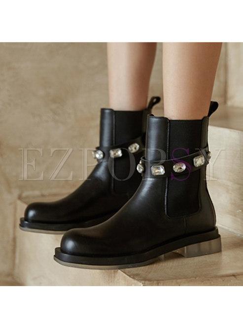 Square Toe Rhinestone Low Block Heel Ankle Boots