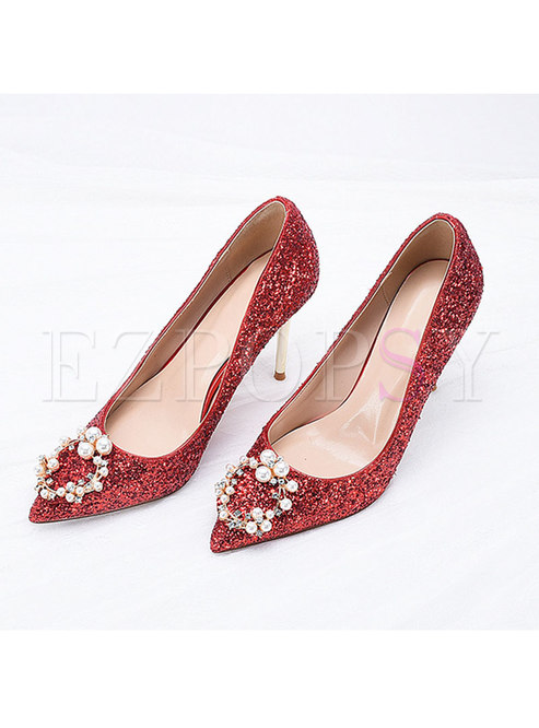 Pointed Toe Sequin Low-fronted Wedding Heels