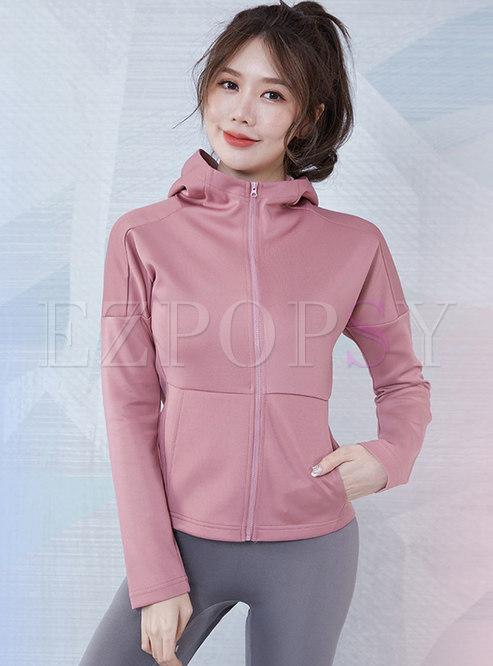 Hooded Long Sleeve Slim Fitness Jacket