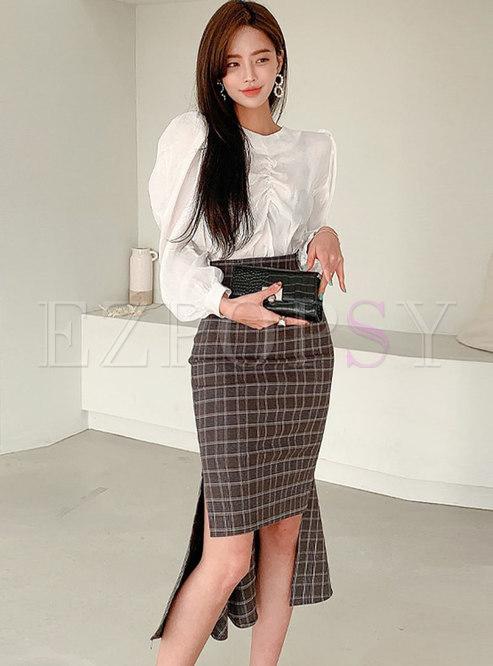 Puff Sleeve Ruched Blouse & Plaid Asymmetric Skirt