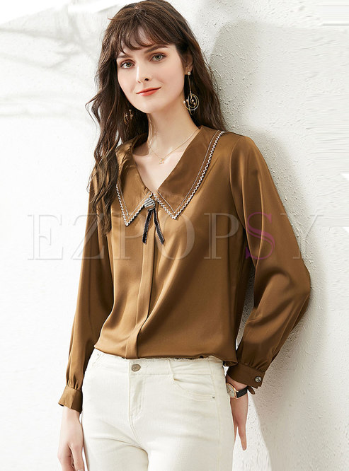 Satin Lapel Long Sleeve Pullover Blouse