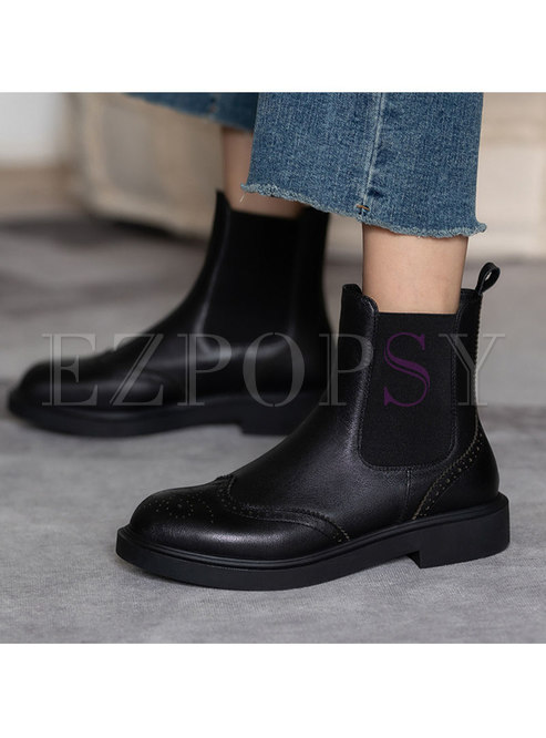 Rounded Toe Low Block Heel Ankle Boots