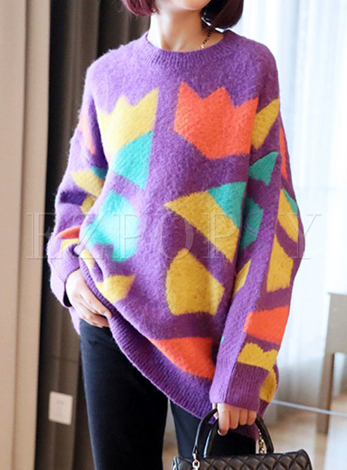Color-blocked Crew Neck Pullover Loose Sweater