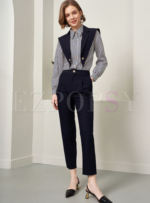 Striped Patchwork High Waisted Pant Suits