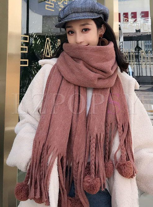 Solid Faux Cashmere Fringed Shawl Scarf